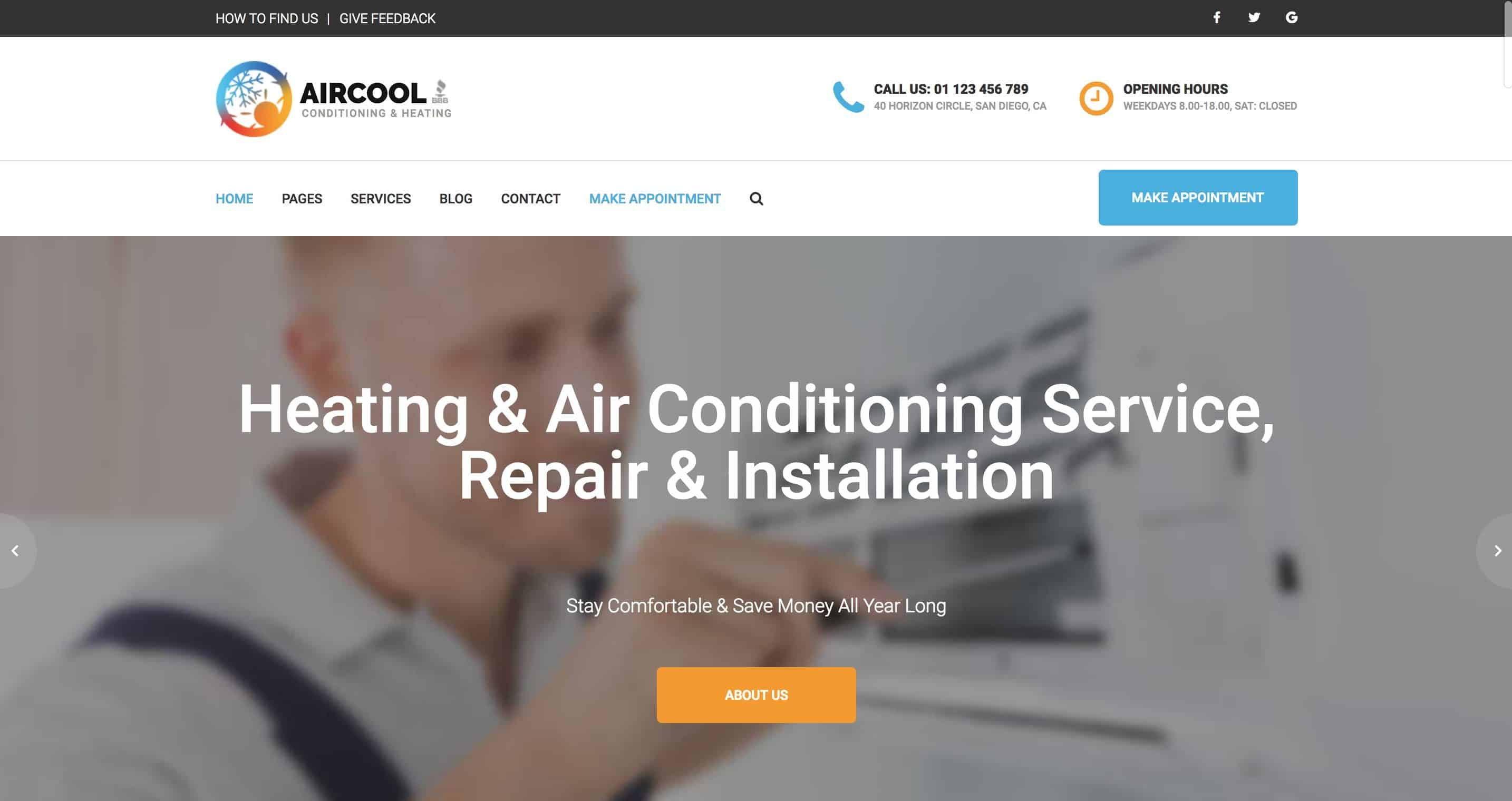 Services Pro Heating & Air Conditioning Website